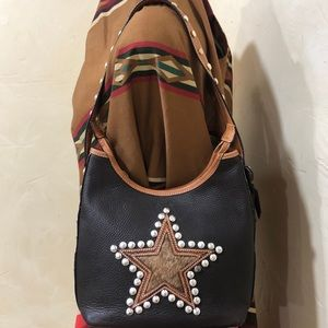 NWOT Montana West hair on hide star studded purse